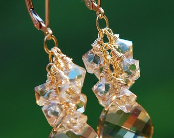 Bridesmaid Earrings, Golden Shadow Clusters, Wire Wrapped Swarovski Crystal, 14K Gold Fill, Leverback