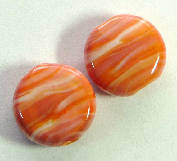 Lampwork Art Beads Accent Spree Lentil Pair 15 mm (LS1457) Sunset