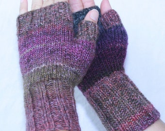 Hand-knit Fingerless Mittens with Thumb, Violets, size small