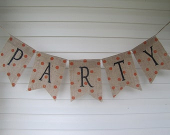 PARTY Glittered Halloween Burlap Banner