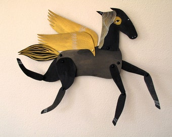 Licorice / Winged Black and Gold Horse Articulated Decoration  / Hinged Beasts Series