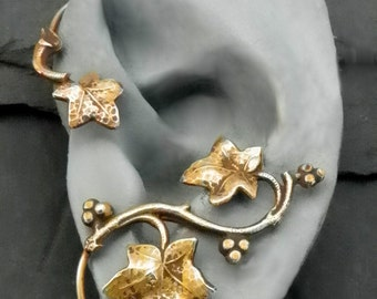 Golden Leaf Ear Wrap  - AUTUMN  - Intricate Fall Brass Ear Cuff