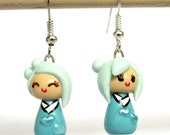 Cute Kawaii Clay Earrings, Pastel Turquoise Kokeshi Doll Earrings