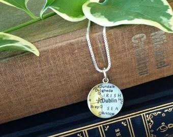 Dublin - Sterling Keepsake Map Charm Necklace