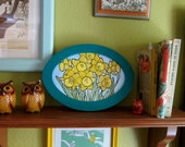 Watercolor Daffodils in Turquoise Hand Painted Frame- Original Piece