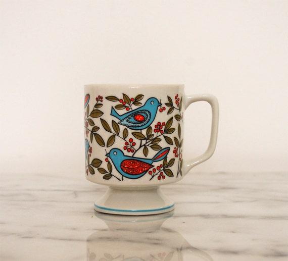 vintage pedestal  mug with birds berries and leaves
