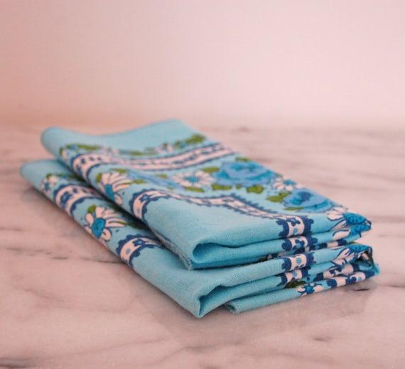 vintage cloth napkins blue floral set of two designed by The Ryans