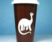 SALE - Brontosaurus Dinosaur Travel Mug - BROWN insulated ceramic to-go coffee cup
