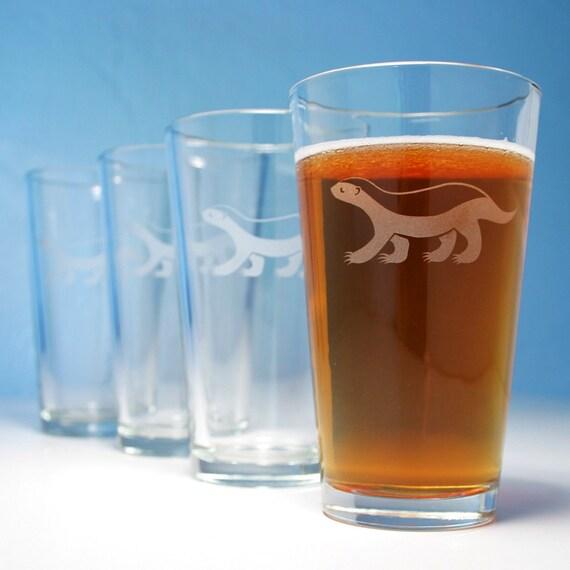 4 Honey Badger Pint Glasses - gift set of 4