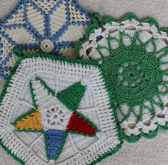 Vintage Crocheted Pot Holders - Colorful Cotton Trivets - Vintage Kitchen Potholders - Colorful Pot Holders - Eastern Star