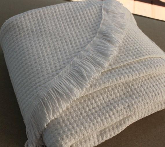Vintage Morgan Jones Bedspread - Solid White Blanket - Bright White Coverlet - Full or Queen Blanket