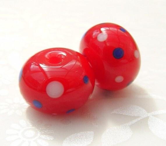Patriot Polka Lampwork Beads