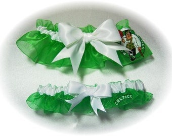 Boston Celtics Wedding Garter Set    Handmade  Keepsake Toss Bridal eww