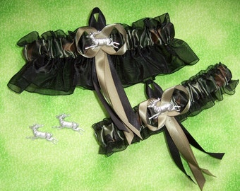 Deer Camouflage Wedding Garter Set on Black