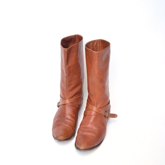 size 9.5 vintage brown italian leather BUCKLE ankle boots