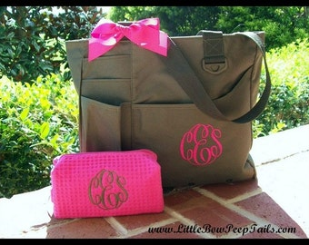 Gift Set of - Monogrammed Organizer Tote and Small Cosmetic Bag, Personalized Teacher tote set, personalized large tote and makeup bag