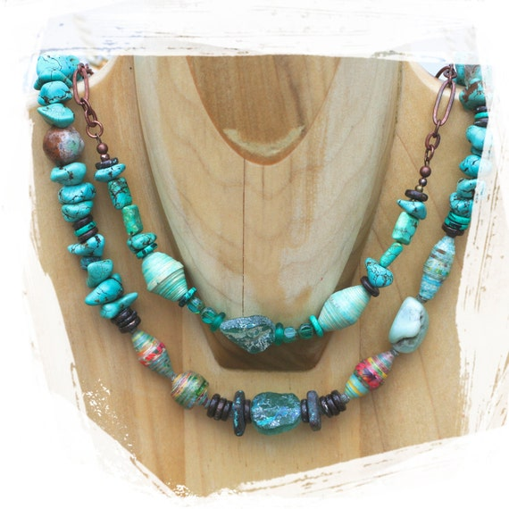 ancient roman glass necklace, turquoise magnesite nuggets, paper beads