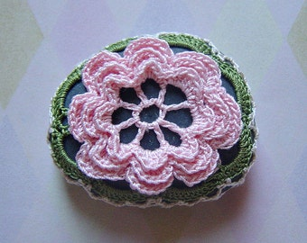Crochet Lace Stone, Original, Handmade, Table Decorations, Home Decor, Art Object, Folk Art, Pink Flower, Monicaj
