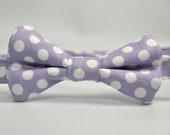 Boy's Bowtie - Lavender and White Polka Dot Bow Tie
