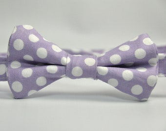 Boy's Bowtie - Lavender and White Polka Dot Bow Tie