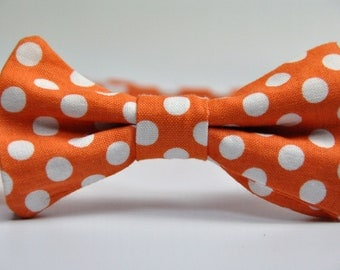 Boy's Bowtie - Orange and White Polka Dot Bow Tie - Children's Tie