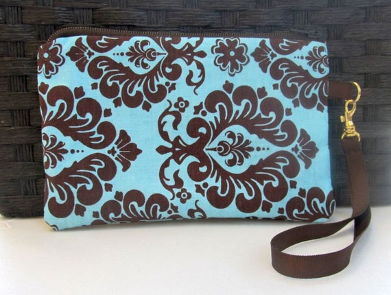 Wristlet, wallet, clutch, Damask print wristlet, gadget bag