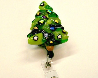 Retractable Badge Holder Fused Glass Christmas Tree