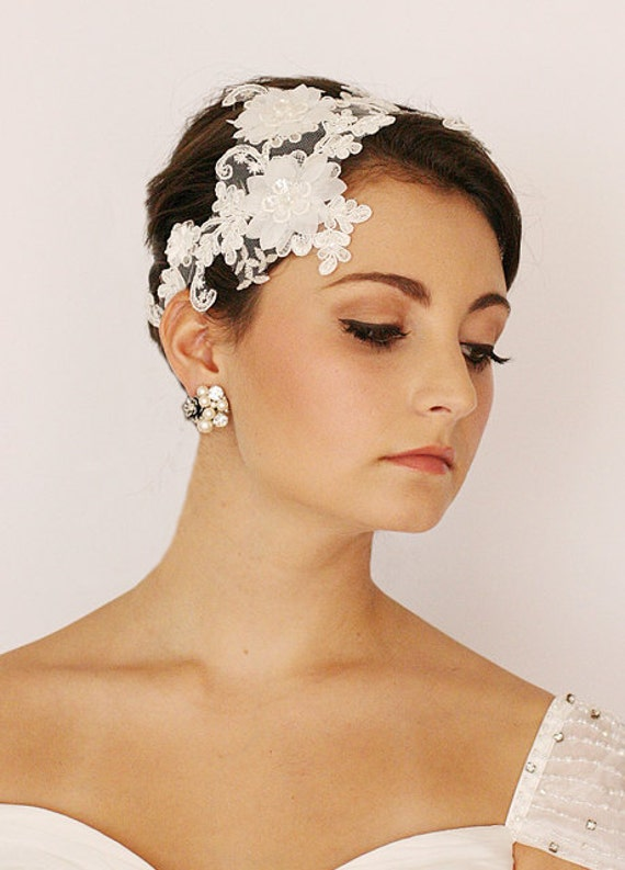 Leaf And Flower, Lace Embellished, Bridal Hair Comb, Bridal Headpiece, Bridal Accessories