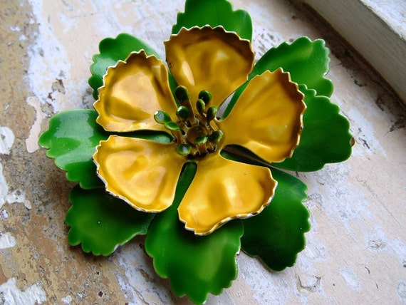 FREE SHIPPING Vintage Green and Yellow Enamel Flower Brooch