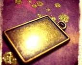 10 Bronze Rectangle Pendant Trays Charms