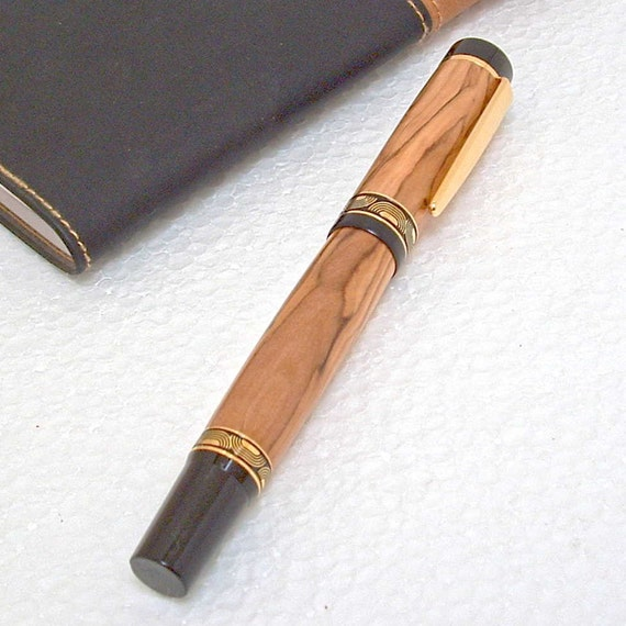 Handcrafted Ligero Rollerball Desk Pen Handturned with Bethlehem Olive Wood