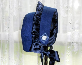 Bonnet Holiday Accent Bonnet Blue Velour Girls 2 to 5 years 35USD