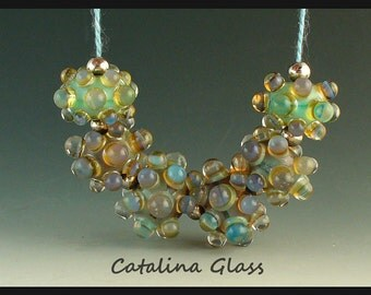 Lampwork Beads Handmade by Catalina Glass SRA   Opal Bubble Rounds