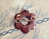 Enamel Flower Toggle in a Deep Dark Brown Color Handmade for your jewelry designs - In stock