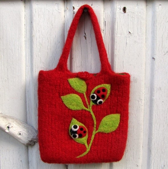 Felted bag purse red wool pouch hand knit needle felt ladybugs labybirds