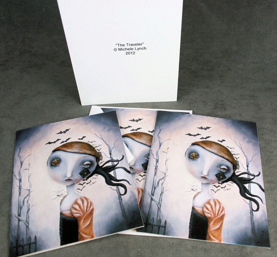 The Travler 4 Blank Pop Surrealism Lowbrow Note Cards