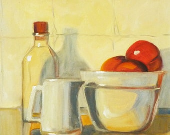 Original Still Life, Oil Painting, Red Fruit Painting, Kitchen Decor, Bottle, White Pitcher, 12x12 on Canvas, Wall Decor