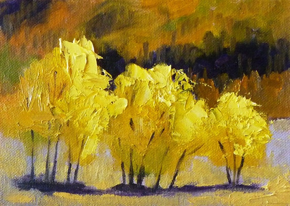 Abstract Landscape Oil Painting Small 5x7 On Canvas Yellow