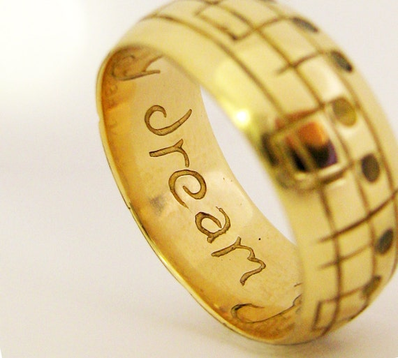 Gold Song Wedding Band White Yellow Or Rose Gold Men's