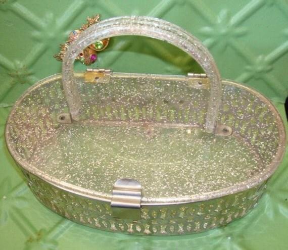 Gorgeous Vintage Lucite and Chrome Glitter Structured Purse Handbag
