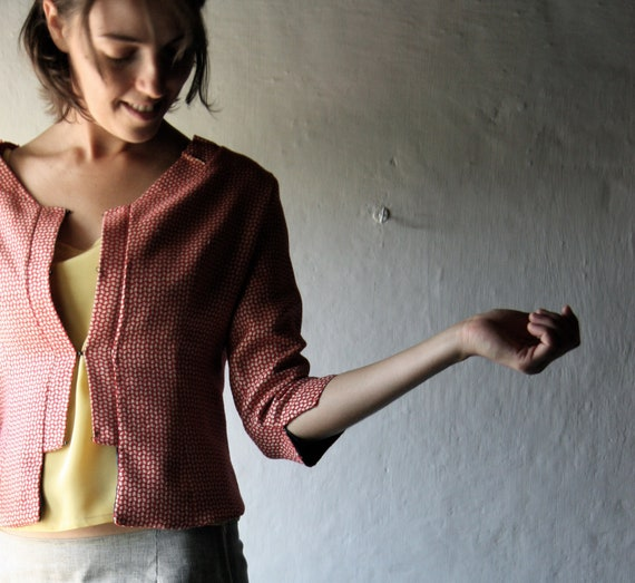 Optical red cropped wool jacket fully lined with silk satin