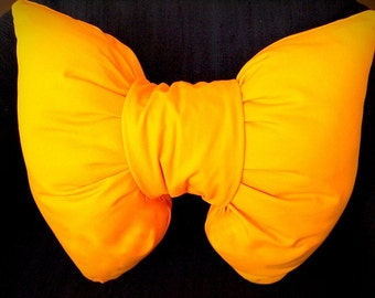 Handmade unique mustard yellow Bow shaped pillow home decor