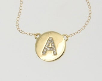 DIAMOND Initial Necklace - Your Letter Necklace 14K Yellow, White, or Rose Gold, Genuine Diamonds, Solid Gold Katie Holmes Necklace