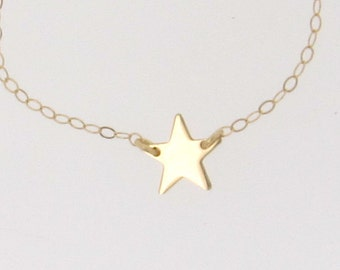 Gold Star Necklace, Tiny, 14K Gold Star as Seen On  Kelly Ripa and Lea Michelle  - Sideways Star 14K Solid Yellow, White or Rose Gold
