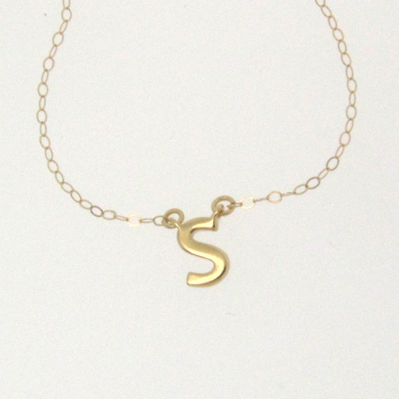 Tiny Initial Necklace - 14K Solid Gold - Your Initial, Lower Case, Rose, Yellow, or White Gold
