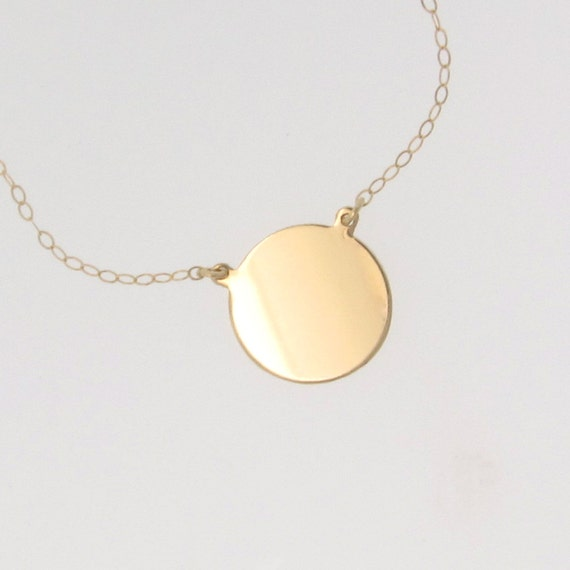 14k gold circle pendant necklace katie holmes disc coin like this item aloadofball Images