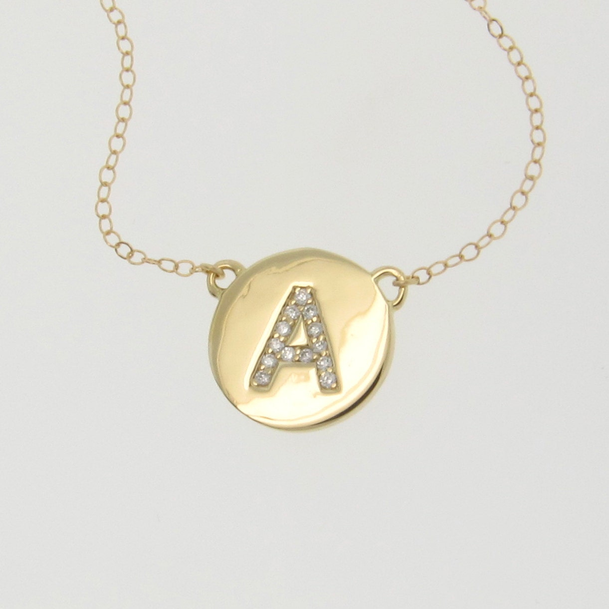 initial necklace your letter necklace 14k yellow