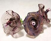 Handmade 3 transparent amethyst bellflowers