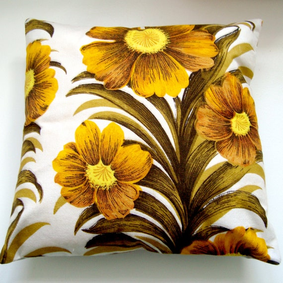 Vintage Fabric Patchwork Pillow / Cushion Cover -  15 inch square throw pillow - Golden Yellow and Olive Sunflower Floral Screenprint Fabri