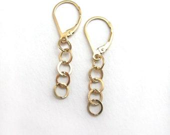 Minimal Gold Chain Earrings, 14K Gold Fill Leverback, Gold Chain Drop Earrings